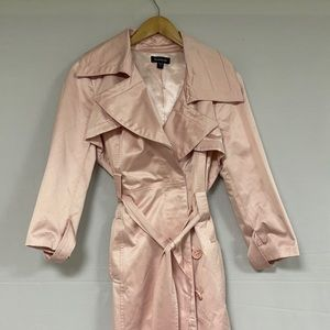 Bebe Satin Pink Belted Coat M
